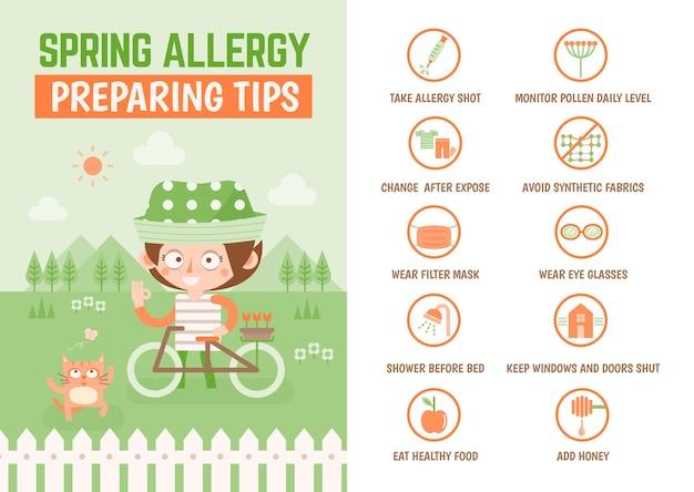 Dicas de preparação de alergia primavera de infográfico de saúde