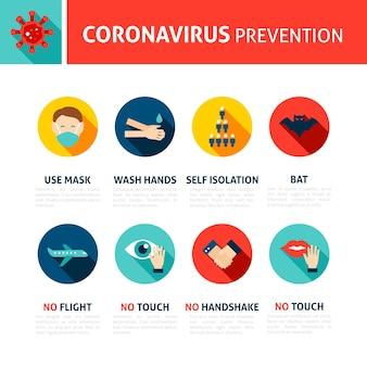 Dicas de prevenção de coronavírus ilustração em vetor plana infográfico de conceito médico com texto