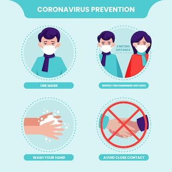 Dicas de prevenção e proteção do modelo de ilustração de coronavírus