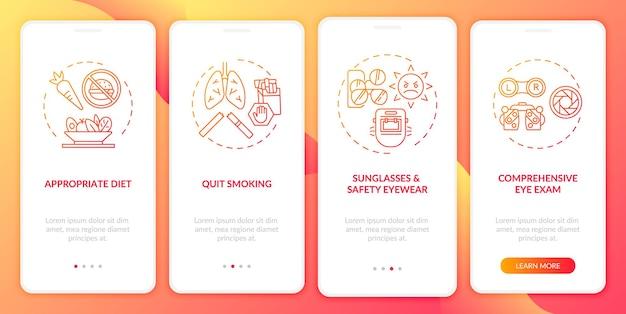 Dicas de saúde ocular integrando a tela da página do aplicativo móvel com conceitos