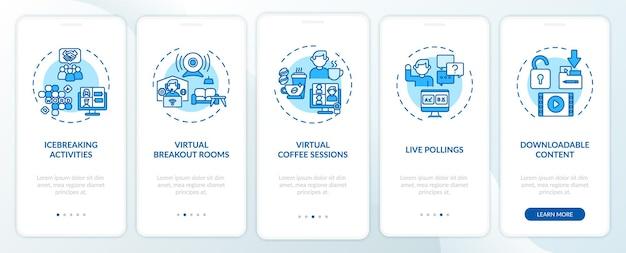 Dicas de sucesso de eventos remotos na tela da página do aplicativo móvel com conceitos