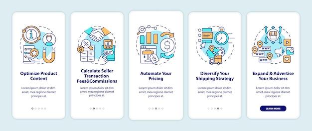 Dicas de sucesso do mercado online para a tela da página do aplicativo móvel.