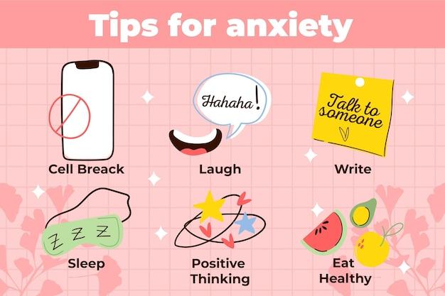 Dicas diferentes para infográfico de ansiedade