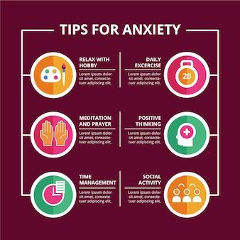 Dicas ilustradas para infográfico de ansiedade