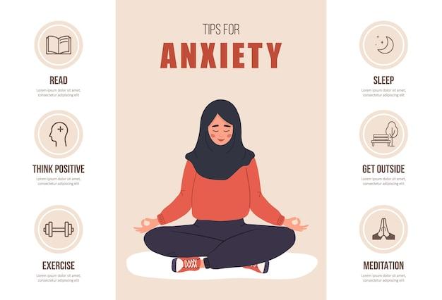 Dicas para ansiedade. conceito de saúde mental. mulher feliz islâmica em hijab meditando em posição de lótus.