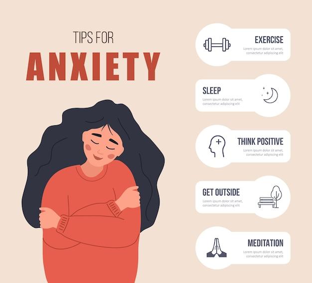 Dicas para ansiedade. mulher feliz se abraçando. infográfico de ajuda da psicologia.