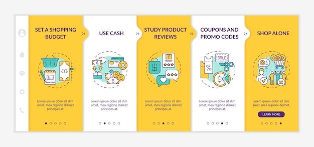 Dicas para economizar dinheiro para o modelo de integração de compradores. revisão de produtos. cupons e códigos promocionais. site móvel responsivo com ícones. telas de passo a passo da página da web. conceito de cor rgb