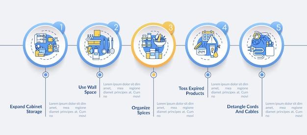 Dicas para um modelo de infográfico de limpeza rápida e eficiente. arrumando os elementos de design da apresentação. visualização de dados em 5 etapas. gráfico de linha do tempo do processo. layout de fluxo de trabalho com ícones lineares