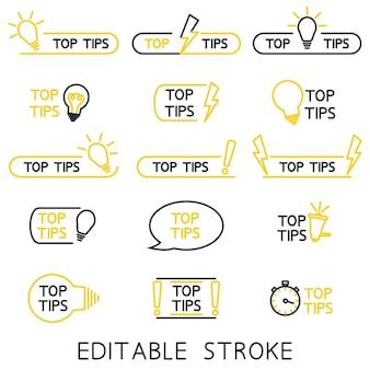 Dicas principais truques úteis dica de ferramenta para sites ícones de esboço de ideias úteis