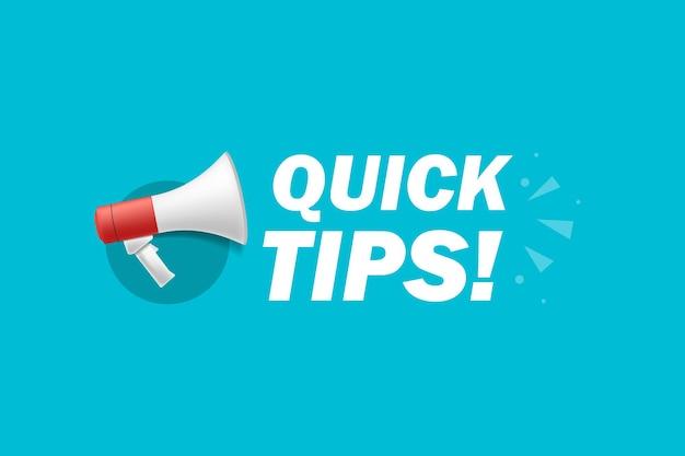 Dicas rápidas. banner com ícone de megafone. ilustração vetorial plana