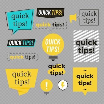 Dicas rápidas, conjunto de banners de truques úteis