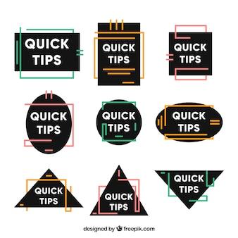 Dicas rápidas de coleção de distintivos em estilo simples