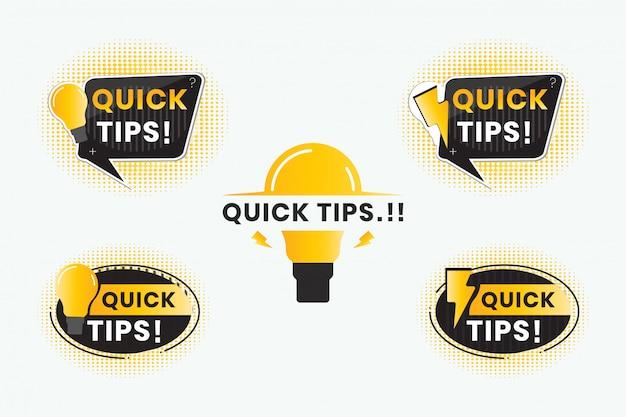 Dicas rápidas em forma de texto para adesivos de etiqueta, banners com bolhas de saudação