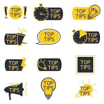 Dicas rápidas o sumário forma balões de fala, ponto de exclamação com texto dica de truques úteis