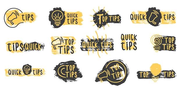 Dicas rápidas truques úteis logotipos de doodle emblemas e banners definir dicas coloridas para o site Vetor Premium