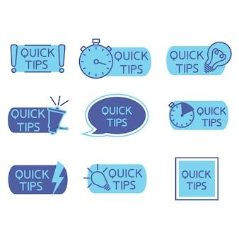 Dicas truques truques úteis dica de ferramenta dica para site conjunto de dicas rápidas solução conselhos úteis Vetor Premium