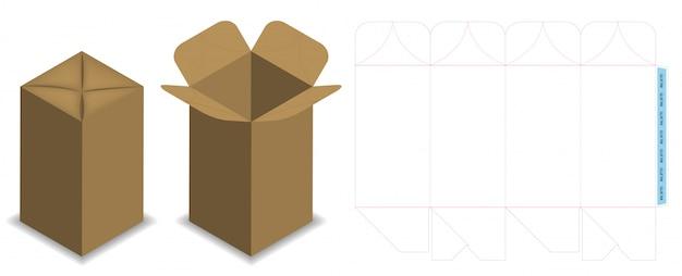 Dieline de caixa para maquete de pacote de garrafa