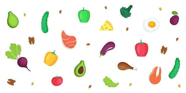 Dieta ceto. cetogênica com baixo teor de carboidratos e proteínas, alto teor de gordura. faixa horizontal de legumes frescos, peixes, carnes, nozes.