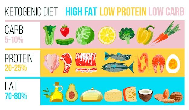 Dieta cetogênica. um amplo conjunto de produtos para a dieta cetônica. ilustração vetorial com textura desenhada à mão de vetor exclusivo. cartaz colorido com produtos diferentes.