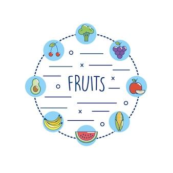 Dieta de nutriton deliciosa frutas e legumes