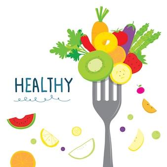 Dieta de vegetais saudáveis frutas