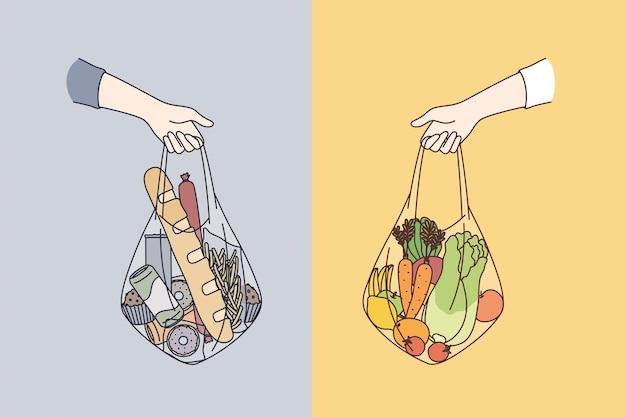 Dieta escolhendo entre vários conceitos de alimentos