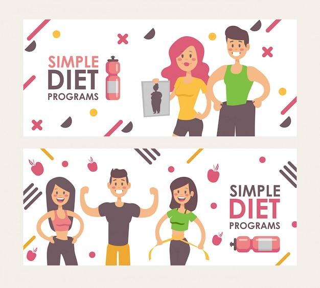 Dieta para perda de peso, banner de ilustração.