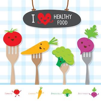 Dieta saudável de alimentos vegetais comer útil vitamina cartoon bonito