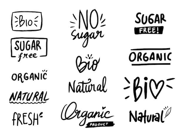 Dieta saudável sem açúcar coleção rótulo grande conjunto
