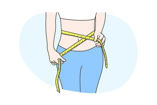 Dieta, saúde, cuidados, medição, conceito de corpo