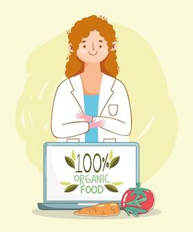 Dietista médico laptop tomate e cenoura, mercado saudável alimentos orgânicos com frutas e legumes