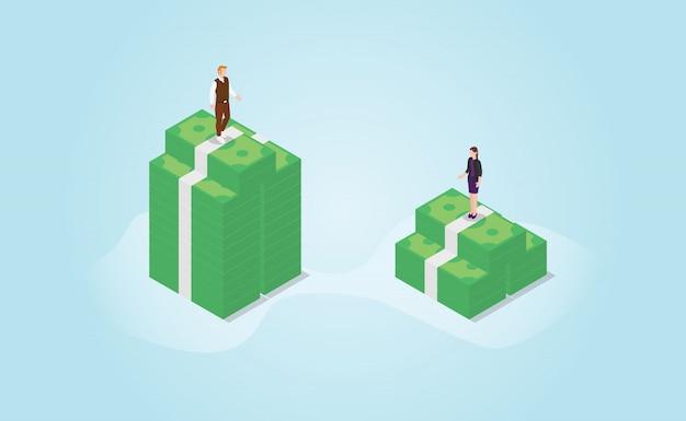 Diferença de diferença de gênero no profissional financeiro com estilo plano moderno isométrico
