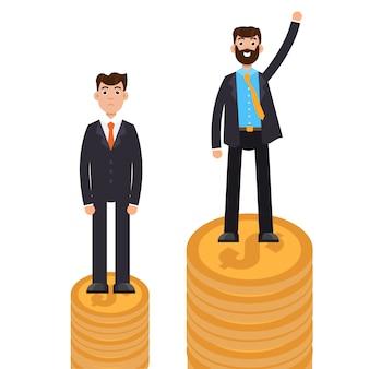 Diferença de negócios e discriminação, homem contra homem, conceito de desigualdade.