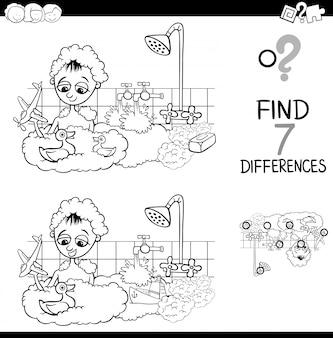Diferenças com menino no livro de cores de banho