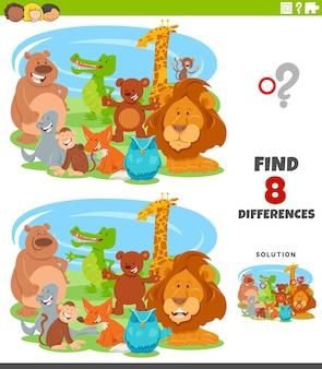 Diferenças jogo educacional com animais de desenho animado