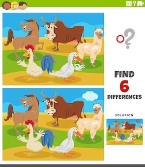 Diferenças jogo educacional com animais de fazenda em quadrinhos