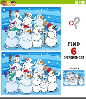 Diferenças jogo educacional com bonecos de neve de desenho animado