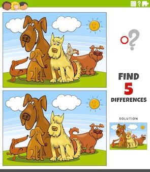 Diferenças jogo educacional com grupo de cães de desenho animado