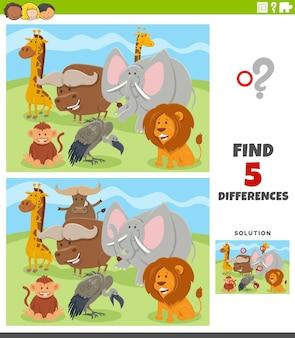 Diferenças jogo educacional com personagens de animais selvagens