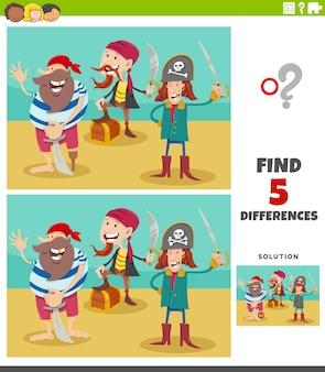 Diferenças jogo educacional com personagens piratas