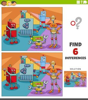 Diferenças jogo educacional com robôs personagens de fantasia