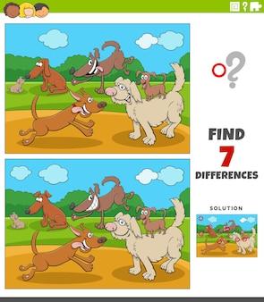 Diferenças jogo educacional para crianças com grupos de cães felizes