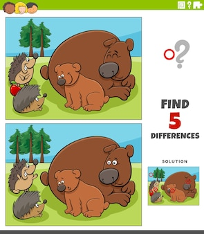 Diferenças jogo educacional para crianças com ursos e ouriços