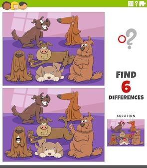 Diferenças jogo educativo com cães de desenho animado e cachorros