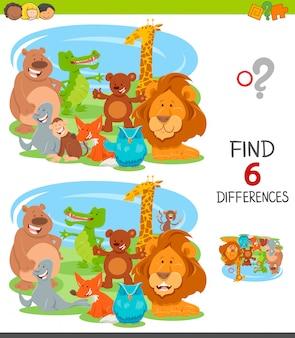 Diferenças jogo educativo para crianças com animais