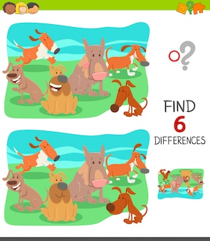 Diferenças jogo educativo para crianças com cães