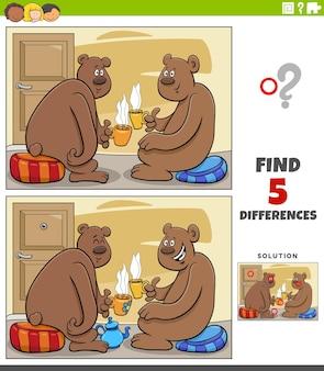 Diferenças jogo educativo para crianças com desenhos animados de ursos bebendo chá