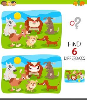 Diferenças jogo para crianças com cães e filhotes