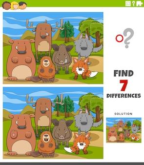 Diferenças tarefa educacional para crianças com animais selvagens