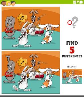Diferenças tarefa educacional para crianças com banda de música rock de coelhos de desenho animado